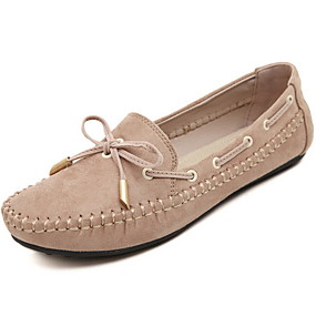 cheap Women's Boat Shoes-Women's Oxfords Spring & Summer Flat Heel Round Toe Daily Canvas Almond / Black / Red