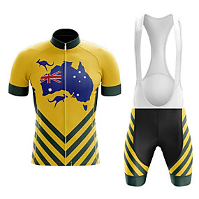 cheap Cycling & Motorcycling-21Grams Men's Short Sleeve Cycling Jersey with Bib Shorts Summer Black / Yellow Australia National Flag Bike Clothing Suit UV Resistant 3D Pad Quick Dry Breathable Reflective Strips Sports Patterned
