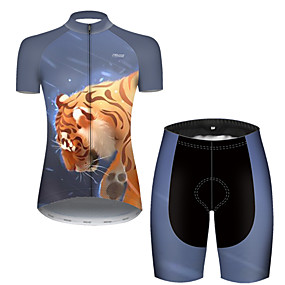 cheap Cycling & Motorcycling-21Grams Women's Short Sleeve Cycling Jersey with Shorts Summer Nylon Polyester Black / Yellow Galaxy Tiger Animal Bike Clothing Suit Ultraviolet Resistant Quick Dry Breathable Reflective Strips Back