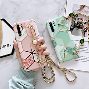 cheap Samsung Case-Samsung S20Plus Matcha Green Stitching Marble Pattern Phone Case Note10Plus Rhinestone Diagonal Metal Chain Long Lanyard S10E Protective Case