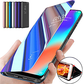 cheap Phones & Accessories-Case For Samsung Galaxy S20/S20P/S20 ultra/S10/S10P/S10E/S9 / S9 Plus / S8 Plus/A01/A91/A81/A71/A60/A50/A90 5G with Stand / Mirror / Flip Full Body Cases Solid Colored PU Leather