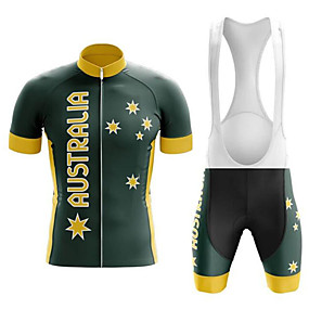 cheap Cycling & Motorcycling-21Grams Men's Short Sleeve Cycling Jersey with Bib Shorts Summer Black / Yellow Australia Austria National Flag Bike Clothing Suit UV Resistant 3D Pad Quick Dry Breathable Reflective Strips Sports