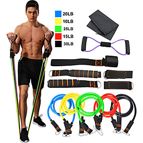 cheap Pilates-Resistance Band Set 12 pcs 5 Stackable Exercise Bands Door Anchor Legs Ankle Straps Sports TPE Home Workout Pilates Fitness Heavy-duty Carabiner Strength Training Muscular Bodyweight Training Muscle