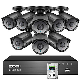cheap DVR Kits-ZOSI 4K Super HD Video Surveillance CCTV System 8 CH H.265 DVR with 2TB HDD and 8 x 4K(8MP) Ip67 Weatherproof Nightvision Cameras