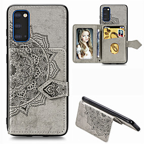 cheap Samsung Case-Mandala Embossed Magnetic Case for Samsung Galaxy S20 PU Leather Wallet Case Multifunction Card Holder Protective Case for S20Ultra S20Plus A51 A71 A91 S10 Plus S9 S8 Plus A70 A50 A40 Note 10