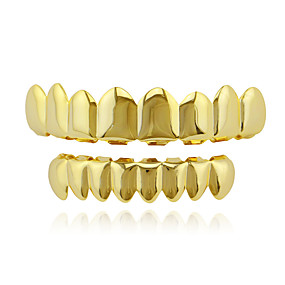 cheap Special Moments-Teeth Set / Teeth Grills Statement Stylish Luxury Unisex Body Jewelry For Halloween Street Synthetic Diamond Copper Rose Gold Gold Silver