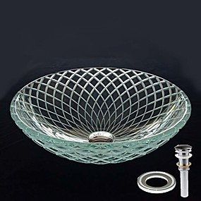cheap Vessel Sinks-Round Computer Carved Line Tempered Crystal Glass Vessel Sink with Pop - Up Drain and Mounting Ring