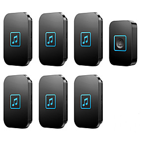 cheap Doorbell Systems-CACAZI Welcome Wireless Doorbell Waterproof 1 Transmitter 6 Receivers Smart Cordless Bell Volume 0-110dB 60 Chimes US EU UK AU Plug
