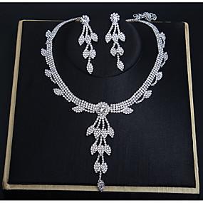 baratos Bijuterias de Festa e Casamento-Mulheres Cristal Sets nupcial Jóias Formato de Folha Elegante Doce Brincos Jóias Branco Para Festa Noivado 1conjunto