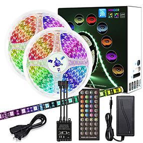 billiga Lysremsor och -strängar-zdm 10m (2 * 5m) högkvalitativ svart pcb musik timing synkron kontroll flexibel ljusstång 600 x 5050 vattentät rgb led strip light och ir 40 nyckelkontroll med12v 6a adapterkit