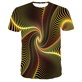 cheap Athleisure Wear-Men's T shirt Shirt Graphic Abstract 3D Print Short Sleeve Daily Tops Basic Designer Big and Tall Round Neck Yellow