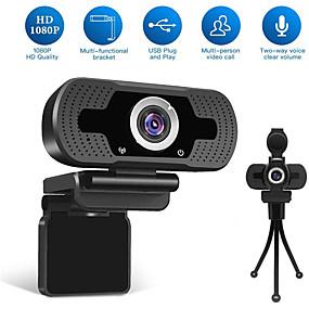 voordelige Computer & Kantoor-hd usb webcam 1080p 90 ° graden supergroothoekbereik weinig lichtversterking dubbele microfoons instelbare zakelijke conferentie webcam plug and play geen behoefte driverondersteuning windows 7 8 10 l