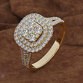 billige Graverte Ringer-personlig tilpasset Blå Kubisk Zirkonium Ring Klassisk Gave Love Festival Geometrisk Form 1pcs Gull Sølv