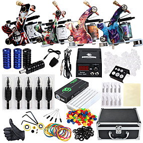 cheap Professional Tattoo Kits-Solong Tattoo Professional Tattoo Kit Tattoo Machine - 4 pcs Tattoo Machines, Professional Level / All in One / Easy to Setup Alloy LCD power supply 4 alloy machine liner & shader / Case Included