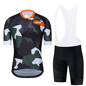 cheap Cycling & Motorcycling-21Grams Men's Short Sleeve Cycling Jersey with Bib Shorts Summer White Black Patchwork Camo / Camouflage Bike Clothing Suit UV Resistant 3D Pad Quick Dry Reflective Strips Back Pocket Sports Patchwork