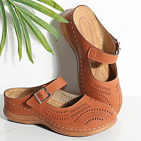 cheap Women's Clogs & Mules-Women's Clogs & Mules Summer Wedge Heel Round Toe Daily PU Pink / Blue / Brown