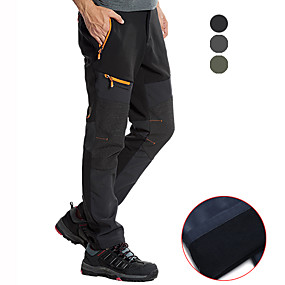 cheap Camping, Hiking & Backpacking-Men's Hiking Pants Trousers Softshell Pants Patchwork Winter Outdoor Waterproof Windproof Fleece Lining Warm Pants / Trousers Bottoms Dark Grey Army Green Black Camping / Hiking Hunting Fishing S M L
