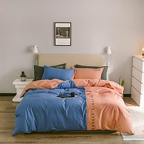cheap Solid Duvet Covers-Four-piece nordic-style four-piece single-double washing cotton bed linen dormitory