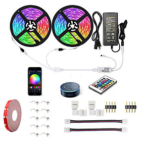 cheap WiFi Control-10M 2x5M WIFI Smart LED Strip Lights Kit RGB Tiktok Lights Waterproof 5050 300 LEDs Phone Controlled Timer LED Tape Light Works with Android iOS and Google Home and 12V 6A Power Supply