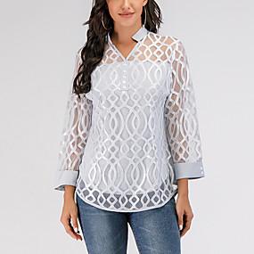 Недорогие Распродажа-Жен. Повседневные Блуза Однотонный Геометрия Кружева Длинный рукав Верхушки V-образный вырез Серый