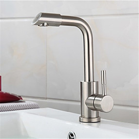 cheap Bathroom Sink Faucets-304 stainless steel basin faucet hot and cold brushed rotating wash basin wash basin faucet