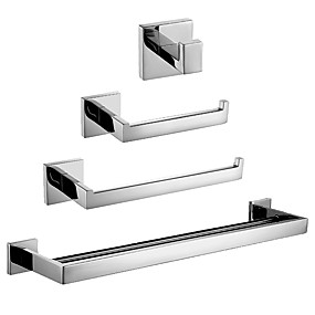 cheap Faucets-4-Piece Bathroom Hardware Accessory Set Towel Bar Toilet Paper Holder Hand Towel Bar and Double Robe Hook Brushed Nickel Wall Mount SUS 304 Stainless Steel