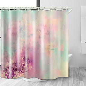 billige Tilbehør til badeværelset-fargerik tåkete plass digitalt trykk vanntett stoff dusjforheng for baderomsinnredning dekket badekar gardiner liner inkluderer med kroker