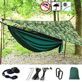 cheap Under 49-Camping Hammock with Mosquito Net Hammock Rain Fly Outdoor Portable Sunscreen Breathable Anti-Mosquito Ultra Light (UL) Parachute Nylon with Carabiners and Tree Straps for 1 person Hunting Fishing