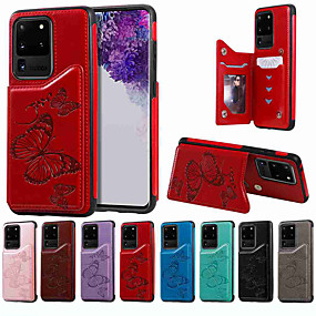 cheap Samsung Case-Case For Samsung Galaxy S20 / S20 Plus / S20 Ultra Wallet / Card Holder / with Stand Back Cover Big Butterfly Embossing PU Leather / TPU for Galaxy S10 / S10E / S10 Plus / A50(2019) / A30S(2019)