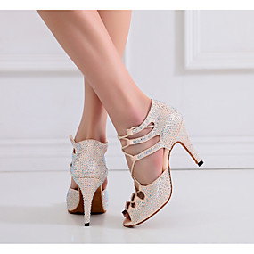 cheap Shoes & Bags-Women's Latin Shoes Silk Lace-up Heel Ribbon Tie Slim High Heel Customizable Dance Shoes Nude