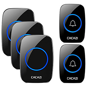 cheap Doorbell Systems-CACAZI Wireless Waterproof Doorbell 300m Range US EU UK AU Plug Home Intelligent Door Bell Chime 2 Pcs Button 3 Pcs Receiver