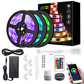 cheap WiFi Control-15M(3x5m) Wifi LED Light Strips RGB Tiktok Lights Controller Power WiFi Wireless Smart Phone Control LED Kit 5050 10mm LED Lights 900 LEDs 5050 SMD Waterproof IP65 Flexible Light DC 12V Strip Lamp