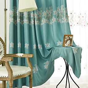 cheap Curtains Drapes-Two Panel Korean Pastoral Style Embroidered Curtains Living Room Bedroom Study Curtains