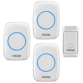 cheap Doorbell Systems-CACAZI A10G Wireless Doorbell Self-powered No batteries Waterproof Button 120M Remote LED Light Home Cordless Bell 38 Chimes