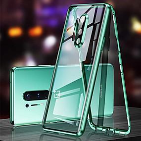 billige Telefoner og tilbehør-magnetisk etui til oneplus 8 360 beskyttelsesdeksel for oneplus 8 pro magnetisk adsorpsjon herdet glass metall dobbeltsidig etui glass beskyttelsesetui for oneplus