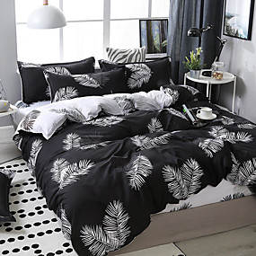 cheap Bedding Sets-Dark system leaves printing pattern bedding four-piece quilt cover bed sheet pillow cover dormitory single double
