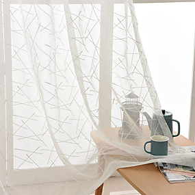 cheap Sheer Curtains-Two Panel Modern Minimalist Style Stripe Embroidery Gauze Living Room Bedroom Den Window Screen