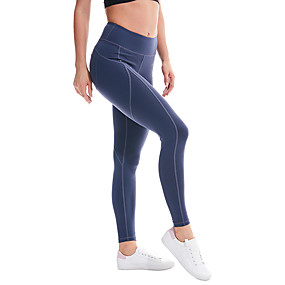 cheap Yoga & Fitness-Women's High Waist Yoga Pants Cropped Leggings Tummy Control Butt Lift 4 Way Stretch Black Blue Gray Nylon Non See-through Fitness Gym Workout Running Sports Activewear High Elasticity / Breathable