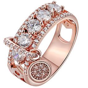 billige Graverte Ringer-personlig tilpasset Klar Kubisk Zirkonium Ring Klassisk Indgraveret Gave Love Festival Geometrisk Form 1pcs Rose Gull Sølv