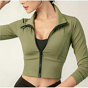 cheap Running & Jogging-INFLACHI Women's Long Sleeve Running Track Jacket Workout Tops Full Zip Outerwear Jacket Athleisure Wear Elastane Moisture Wicking Breathable Soft Fitness Gym Workout Running Active Training Jogging