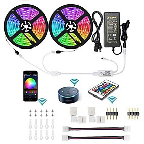 abordables Luz Inteligente LED-kwb wifi kit de luces de tira led inteligente 5050 rgb 10m 2 * 5m 300 leds controlado por teléfono tira de led kittimer cinta led lightworks con android ios y google home y fuente de alimentación 12v