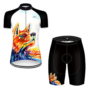 cheap Cycling & Motorcycling-21Grams Women's Short Sleeve Cycling Jersey with Shorts Summer Nylon Polyester Black / Orange Gradient Wolf Animal Bike Clothing Suit Ultraviolet Resistant Quick Dry Breathable Reflective Strips Back