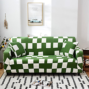 cheap Slipcovers-Green Check Print Dustproof All-powerful Slipcovers Stretch Sofa Cover Super Soft Fabric Couch Cover with One Free Pillow Case