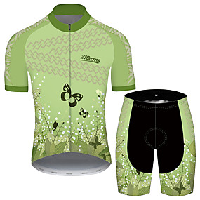 cheap Cycling & Motorcycling-21Grams Men's Short Sleeve Cycling Jersey with Shorts Summer Green Butterfly Floral Botanical Bike Clothing Suit UV Resistant 3D Pad Quick Dry Breathable Reflective Strips Sports Butterfly Mountain
