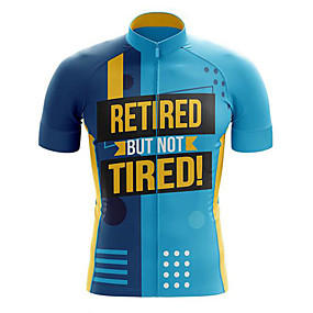 cheap Cycling & Motorcycling-21Grams Men's Short Sleeve Cycling Jersey Summer Polyester Blue+Yellow Polka Dot Bike Jersey Top Mountain Bike MTB Road Bike Cycling UV Resistant Quick Dry Breathable Sports Clothing Apparel