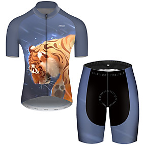 cheap Cycling & Motorcycling-21Grams Men's Short Sleeve Cycling Jersey with Shorts Summer Nylon Polyester Black / Yellow Galaxy Tiger Animal Bike Clothing Suit Ultraviolet Resistant Quick Dry Breathable Reflective Strips Back
