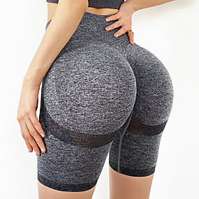 cheap Exercise, Fitness & Yoga-Women's High Waist Yoga Shorts Scrunch Butt Ruched Butt Lifting Shorts Tummy Control Butt Lift Quick Dry Yellow Red Navy Blue Nylon Spandex Fitness Gym Workout Running Sports Activewear High