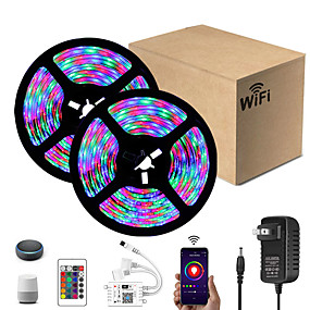 cheap WiFi Control-Intelligent Dimming App Control Flexible Led Strip Lights 10M (2x5M) 2835 RGB SMD IR 24 Key Controller with 12V 2A Adapter Kit