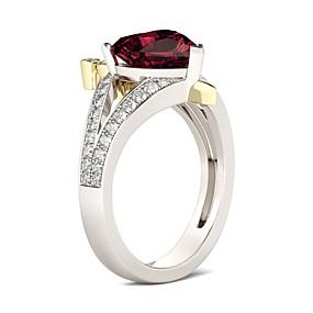 billige Graverte Ringer-personlig tilpasset Klar Rød Kubisk Zirkonium Ring Klassisk Gave Love Festival Geometrisk Form 1pcs Sølv