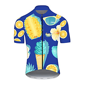 cheap Cycling & Motorcycling-21Grams Men's Short Sleeve Cycling Jersey Summer Nylon Polyester Blue+Yellow Pineapple Lemon Fruit Bike Jersey Top Mountain Bike MTB Road Bike Cycling Ultraviolet Resistant Quick Dry Breathable Sports